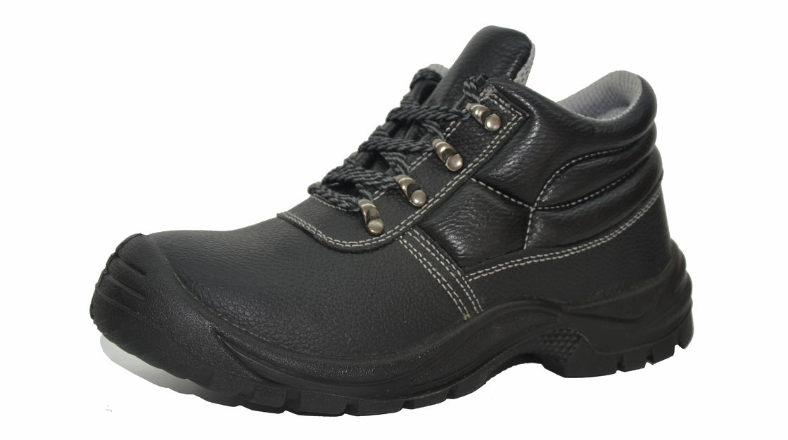 Anti - Skidding Genuine Leather Work Shoes Black Color Fit Steel Industry